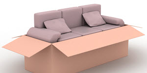 3 seater sofa with two cushions inside the moving box