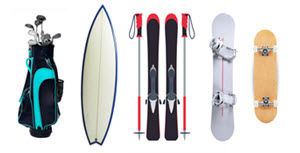 golf clubs, surf board, ski board with poles, snowboard and skateboard